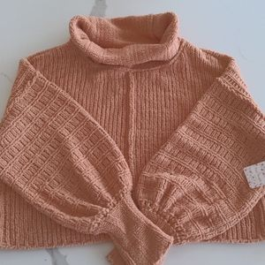 Free People chenille camel turtleneck sweater,NWT, small